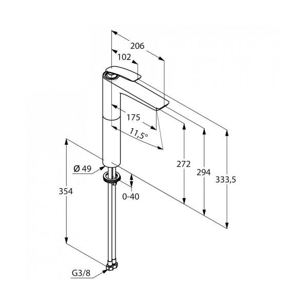 Смеситель для раковины высокий 273 мм Kludi Balance 522980575