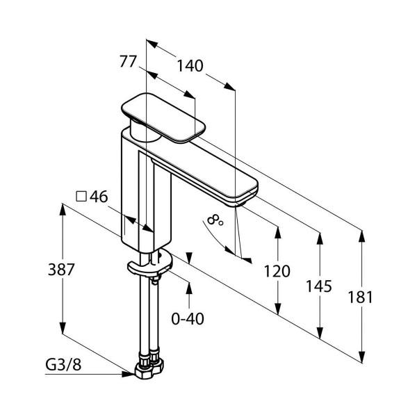 Смеситель для раковины высота 120 мм Kludi E2 492970575