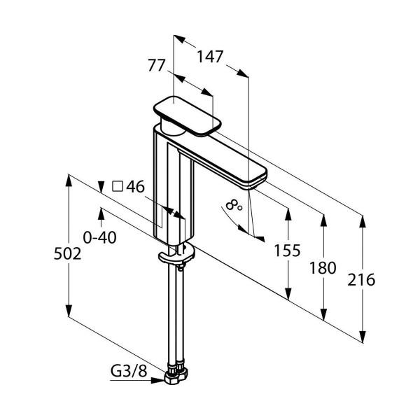 Смеситель для раковины высота 155 мм Kludi E2 492960575