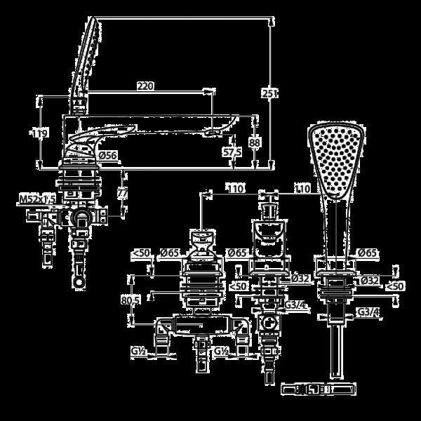 Смеситель для ванны 3 отверстия длина излива 220 мм Kludi Balance 524470575