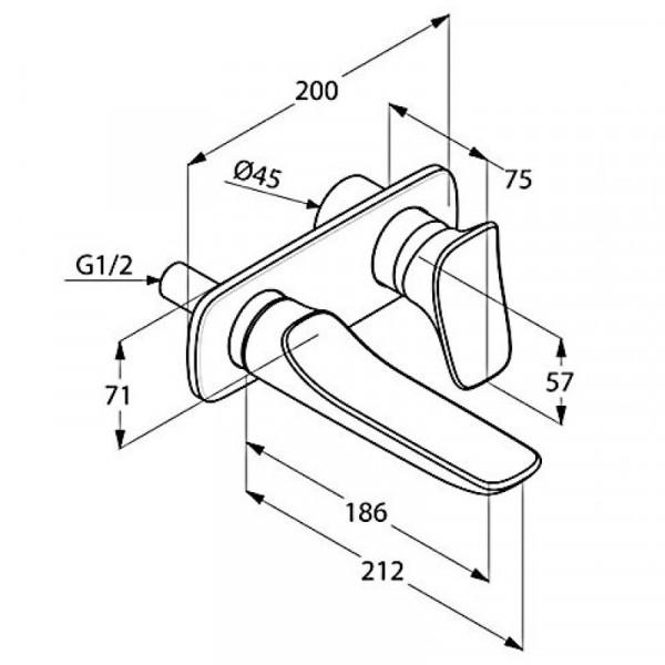 Внешняя часть смесителя для раковины скрытого монтажа длина 186 мм Kludi Ambienta 532440575