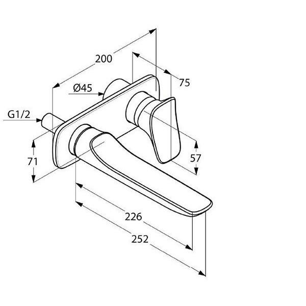 Внешняя часть смесителя для раковины скрытого монтажа длина 226 мм Kludi Ambienta 532450575