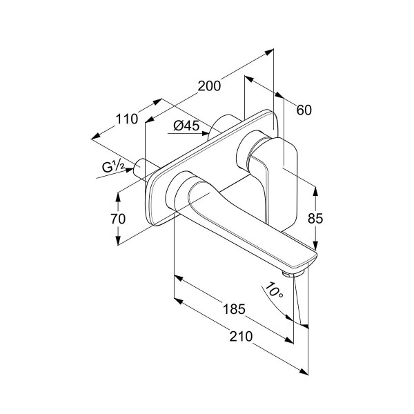 Внешняя часть смесителя для раковины скрытого монтажа изилив 180 мм Kludi Ameo 412440575