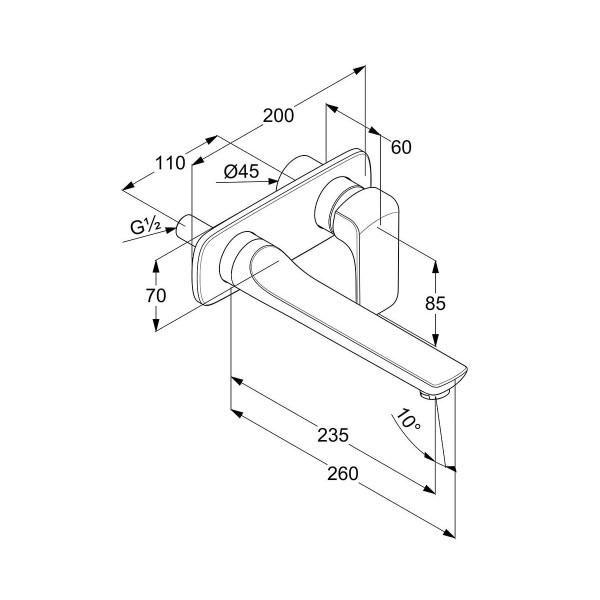 Внешняя часть смесителя для раковины скрытого монтажа изилив 230 мм Kludi Ameo 412450575