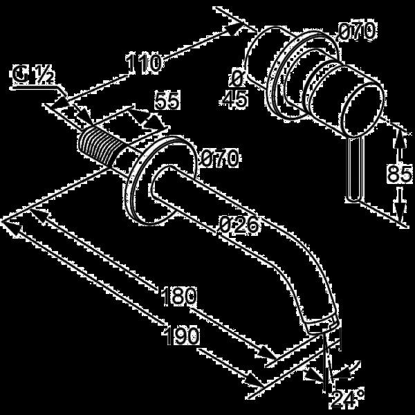 Внешняя часть смесителя для раковины скрытого монтажа излив 170 мм Kludi Bozz 382440576