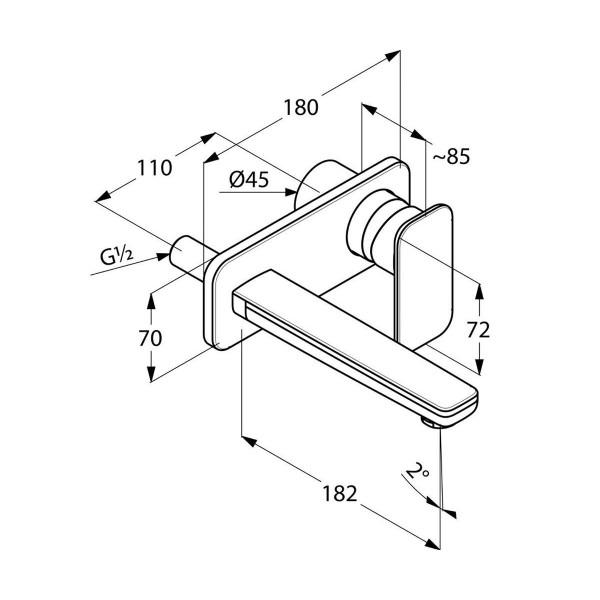 Внешняя часть смесителя для раковины скрытого монтажа излив 180 мм Kludi E2 492440575