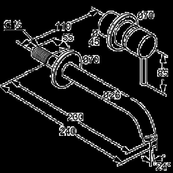 Внешняя часть смесителя для раковины скрытого монтажа излив 220 мм Kludi Bozz 382450576
