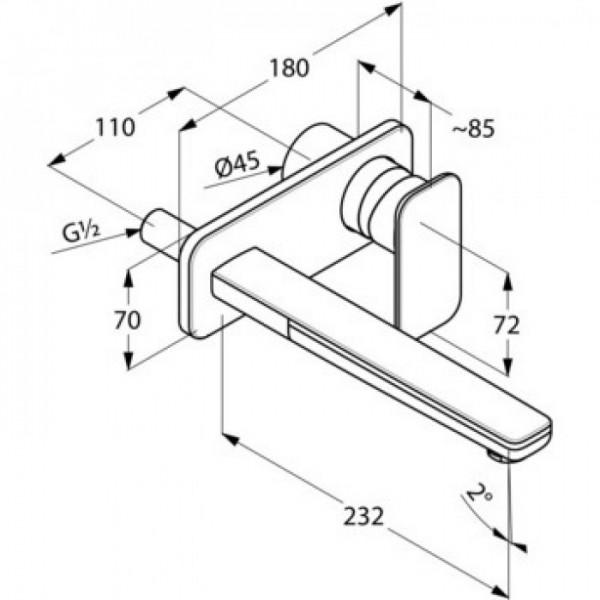 Внешняя часть смесителя для раковины скрытого монтажа излив 220 мм Kludi E2 492450575