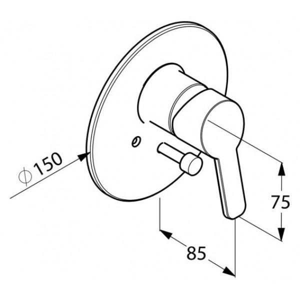 Внешняя часть смесителя для ванны скрытого монтажа Kludi Logo Neo 374190575