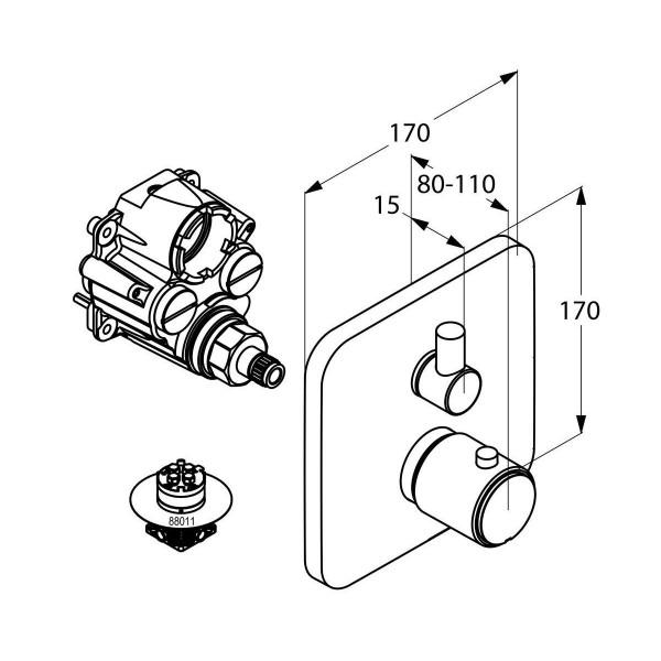 Внешняя часть термостата для ванны скрытого монтажа Kludi E2 498300575