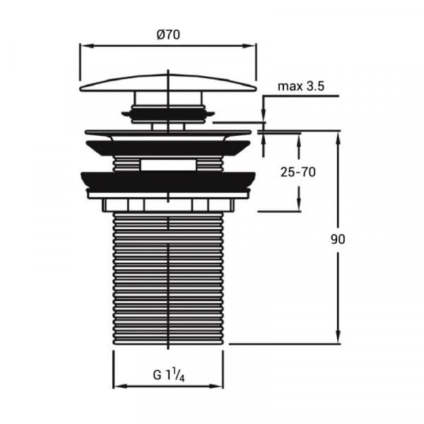 Донный клапан Qtap F008-1 WHI Pop-up с переливом