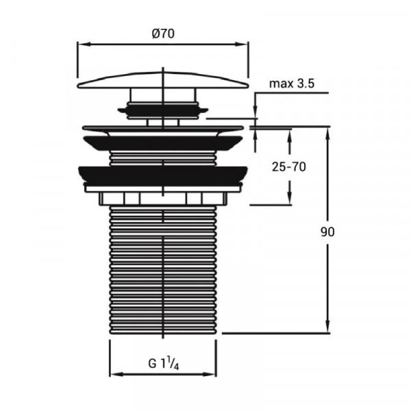 Донный клапан Qtap F009 BLA Pop-up без перелива