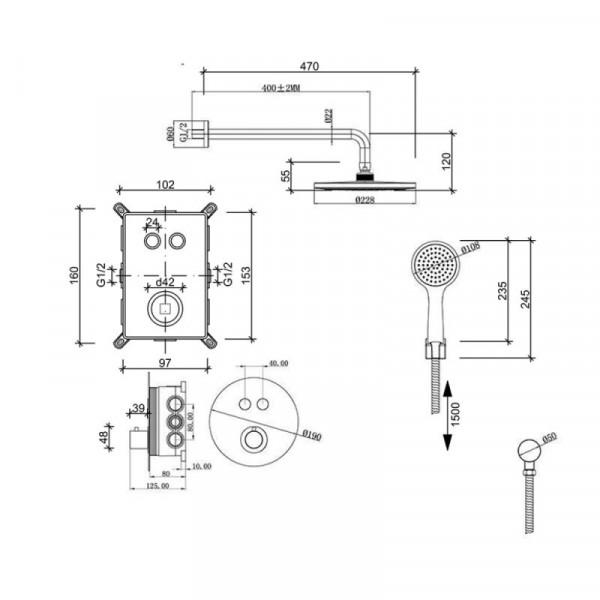 Душевая система скрытого монтажа Qtap Inspai-Therm CRM T20250102