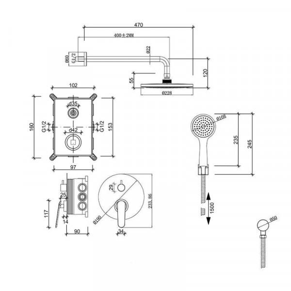 Душевая система скрытого монтажа Qtap Inspai-Varius CRM V10250102