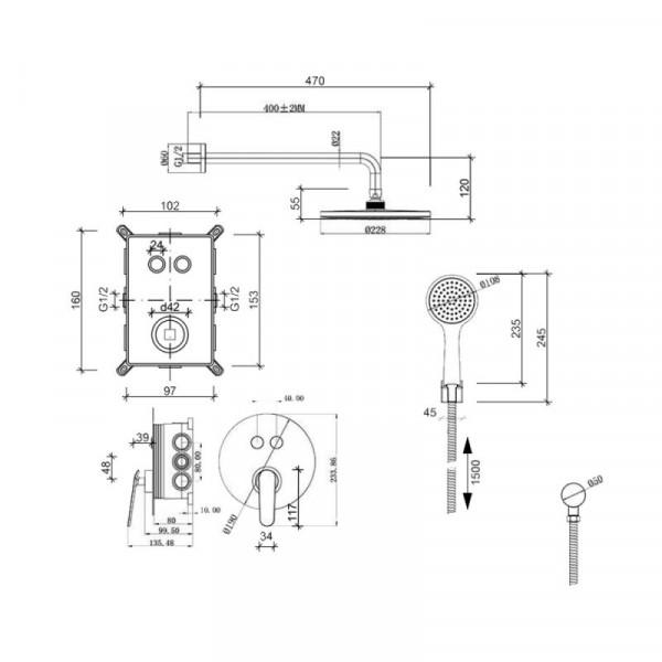 Душевая система скрытого монтажа Qtap Inspai-Varius CRM V20940102
