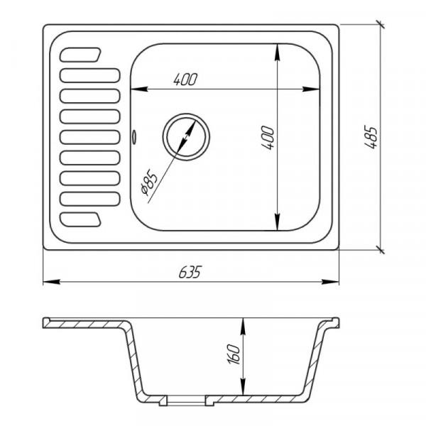 Кухонная мойка Cosh 6449 kolor 210 (COSH6449K210)