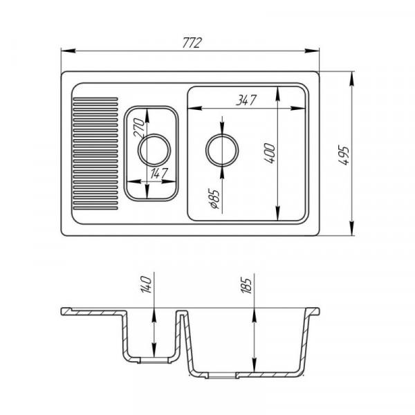 Кухонная мойка Cosh 7749 kolor 800 с доп чашей (COSH7749K800)