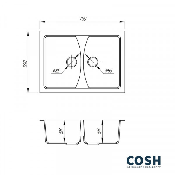 Кухонная мойка двойная Cosh 7950 kolor 300 (COSH7950K300)