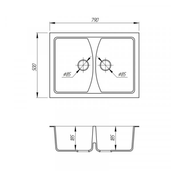 Кухонная мойка двойная Fosto7950kolor 210 (FOS7950SGA210)