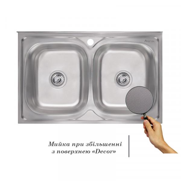 Кухонная мойка двойная Imperial 5080 Decor (IMP5080DECD)