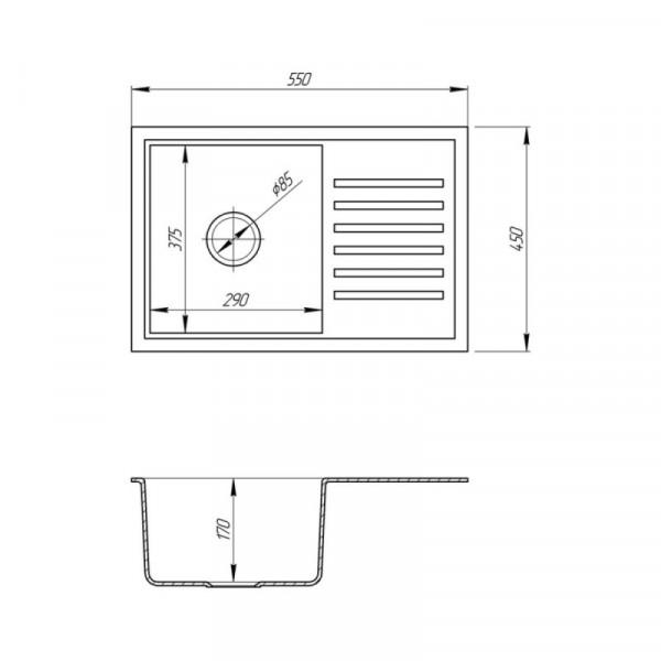 Кухонная мойка Fosto5546kolor 800 (FOS5546SGA800)