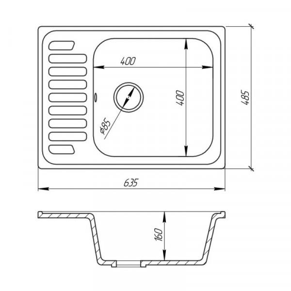 Кухонная мойка Fosto6449kolor 800 (FOS6449SGA800)