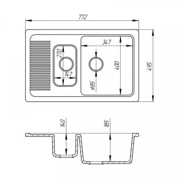 Кухонная мойка Fosto7749kolor 203 с доп чашей (FOS7749SGA203)