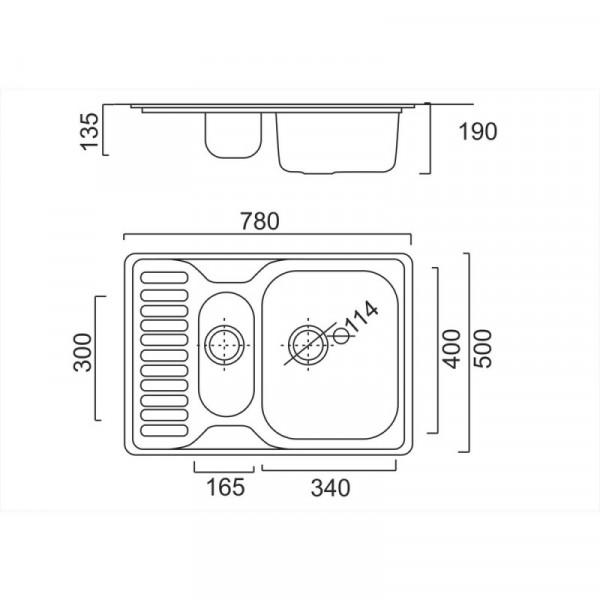 Кухонная мойка ULA 7301 Micro Decor с доп чашей (ULA7301DEC08)