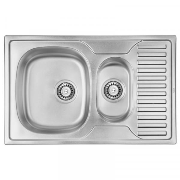 Кухонная мойка ULA 7301 Polish с доп чашей (ULA7301POL08)