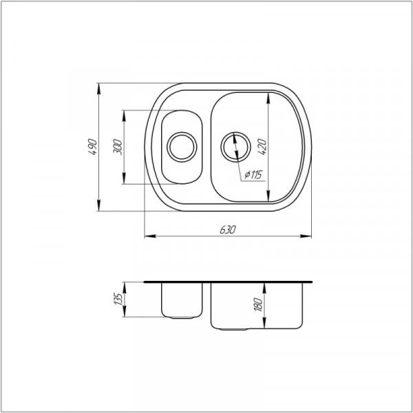 Кухонная мойка ULA 7703 U Micro Decor с доп чашей (ULA7703DEC08)