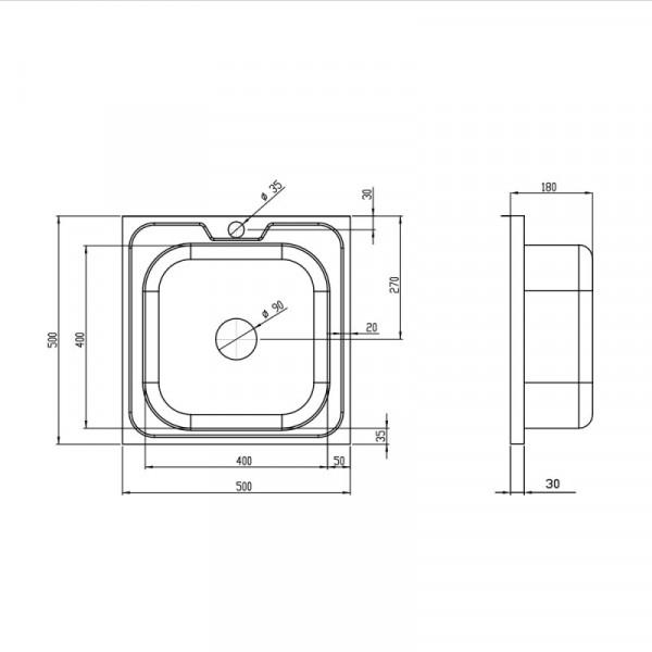 Кухонная мойка Imperial 5050 Satin (IMP505006SAT)