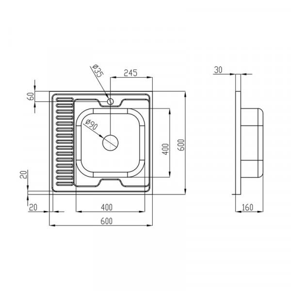 Кухонная мойка Imperial 6060-R Satin (IMP6060R06SAT)