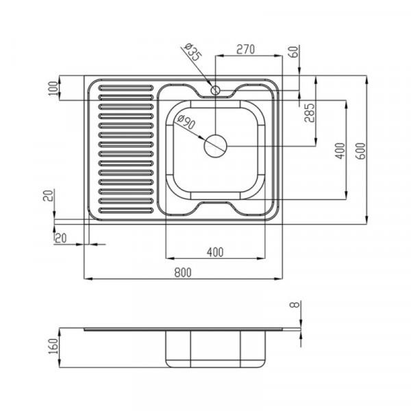Кухонная мойка Imperial 6080-R Satin (IMP6080RSAT)
