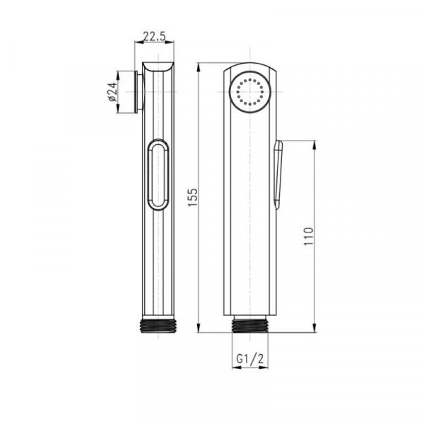 Лейка для гигиенического душа Qtap A120 CRM
