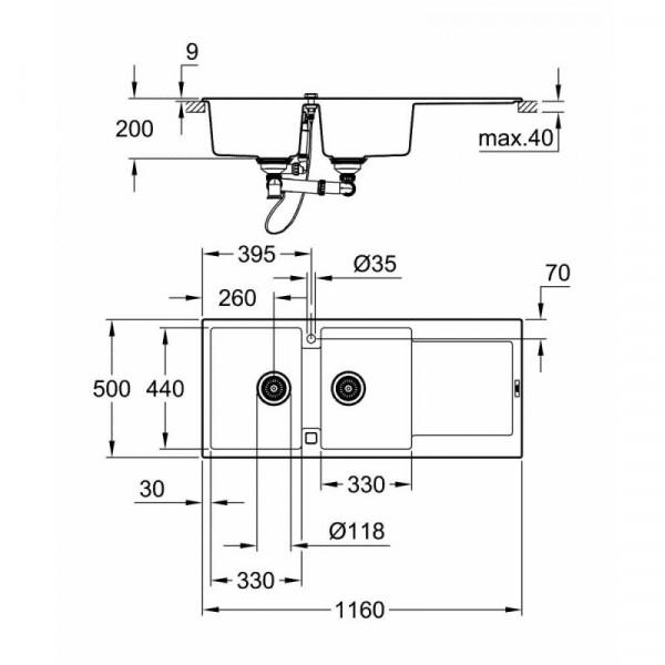 Мойка гранитная Grohe Sink K500 двойная 31647AP0