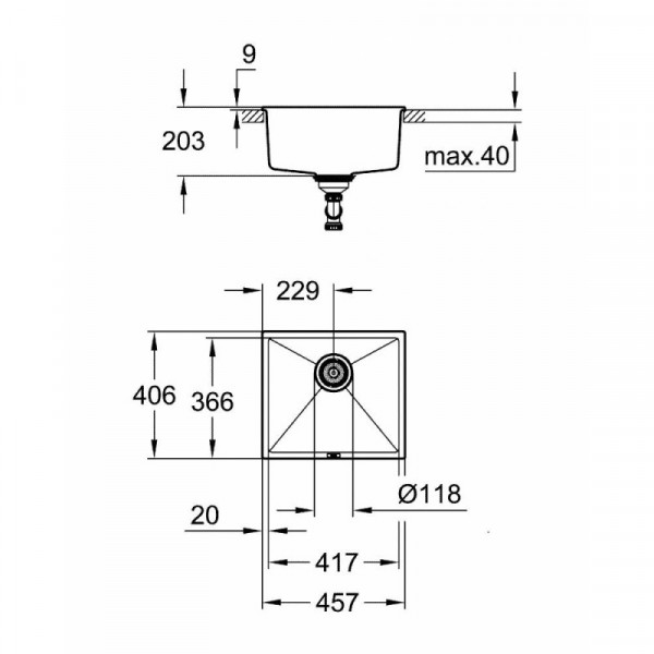 Мойка гранитная Grohe Sink K700 Undermount 31653AT0