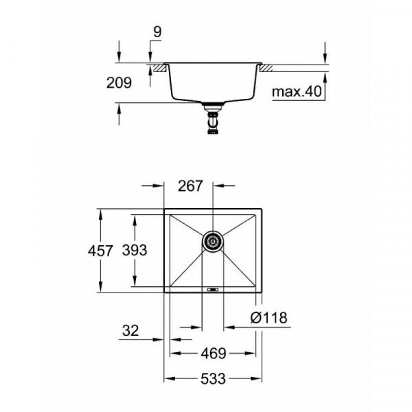 Мойка гранитная Grohe Sink K700 Undermount 31654AT0