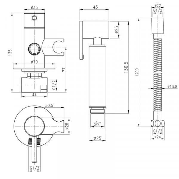 Набор для гигиенического душа Qtap Inspai-Varius V00440001 BLA встроенного монтажа