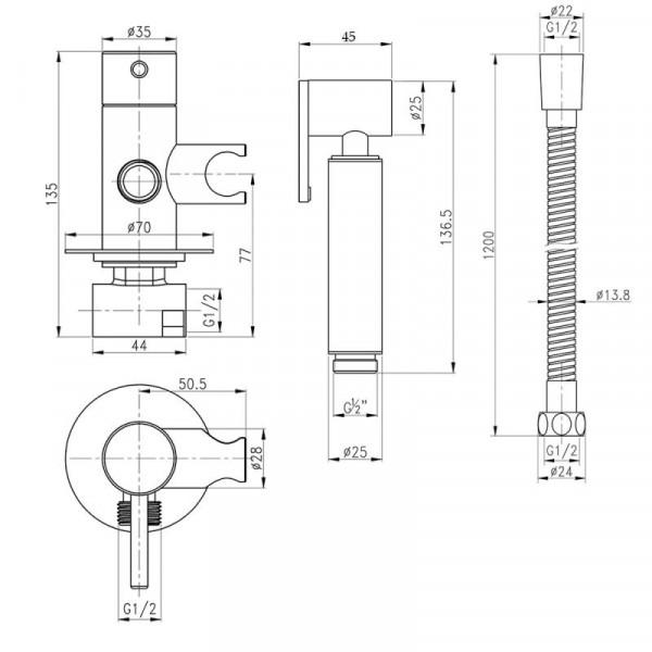 Набор для гигиенического душа Qtap Inspai-Varius V00440001 VOT встроенного монтажа
