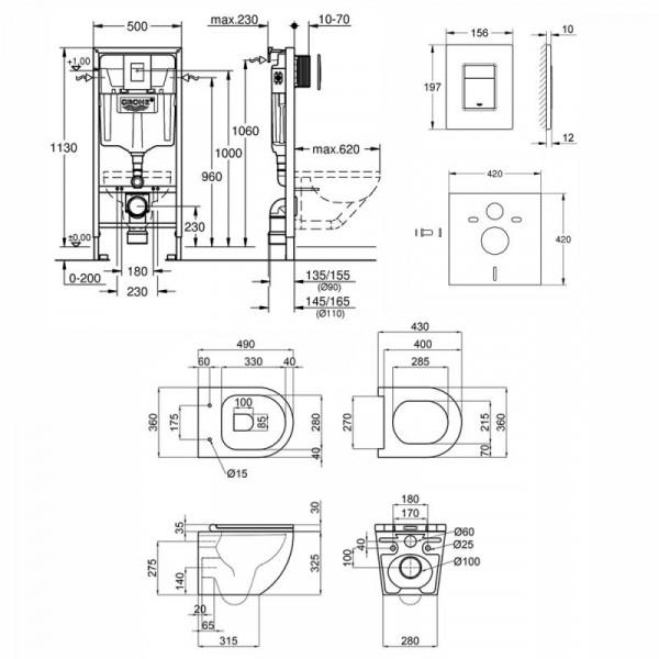 Набор инсталляция 4 в 1 Grohe Rapid SL 38772001 + унитаз с сиденьем Q-tap Robin QT1333046ENRW