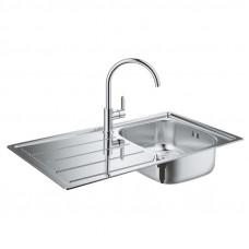 Набор кухонная мойка Grohe Sink 31562SD0 K200 и смеситель BauEdge 31367000