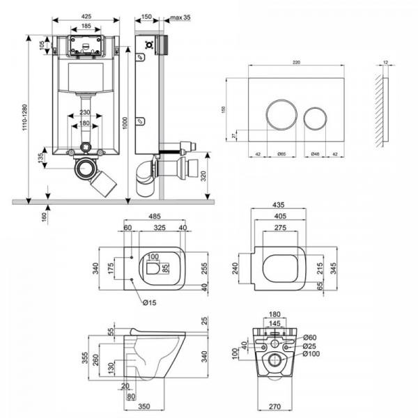 Набор Q-tap инсталляция 3 в 1 Nest QT0133M425 с панелью смыва круглой QT0111M11112CRM + унитаз с сиденьем Crow QT05335170W