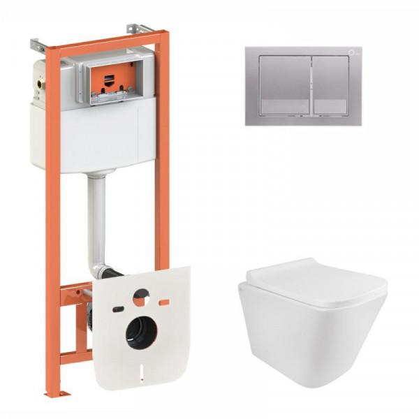 Набор Q-tap инсталляция 3 в 1 Nest QT0133M425 с панелью смыва квадратной QT0111M06029SAT + унитаз с сиденьем Crow QT05335170W