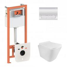 Набор Q-tap инсталляция 3 в 1 Nest QT0133M425 с панелью смыва линейной QT0111M08381CRM + унитаз с сиденьем Swan QT16335178W