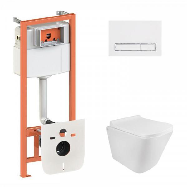 Набор Q-tap инсталляция 3 в 1 Nest QT0133M425 с панелью смыва линейной QT0111M08V1384W + унитаз с сиденьем Swan QT16335178W