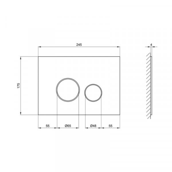 Панель смыва для унитаза Qtap Nest PL M11GLWHI