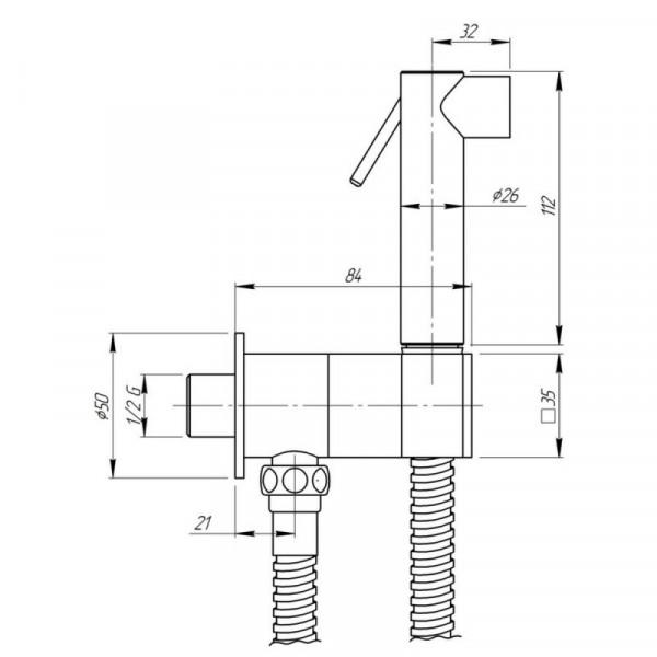 Гигиенический душ inGENIUS SG431CR с встроенным держателем лейки и с краном 1/2, шланг 1,2 м