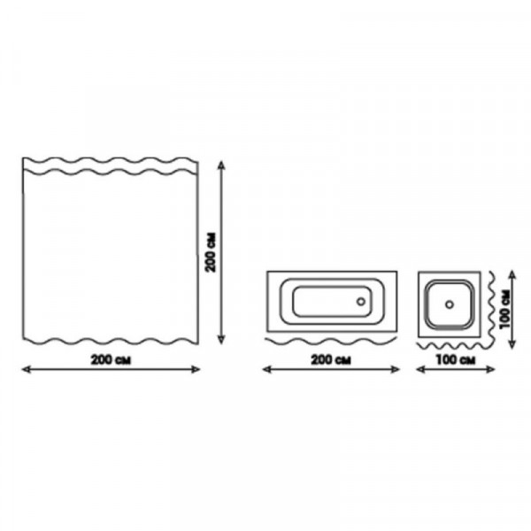 Шторка для ванной Qtap Tessoro PA09108 200*200