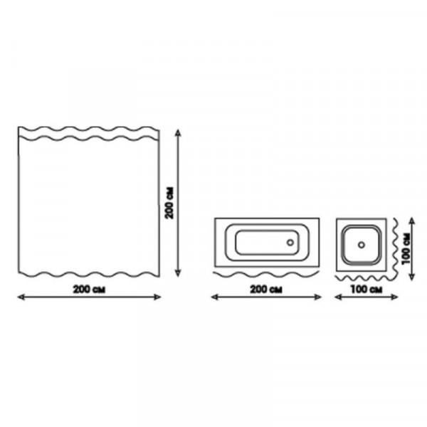 Шторка для ванной Qtap Tessoro PA62856 200*200