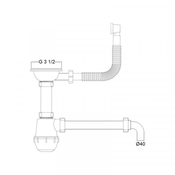 Сифон Imperial 01 для кухни, выпуск 3 1/2
